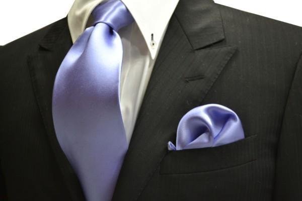 ネクタイ・チーフセット【濃い水色(ラベンダーかかった)のネクタイ&ポケットチーフセット】
