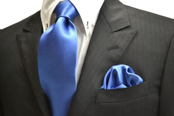 ネクタイ・ポケットチーフセット【ブルーのネクタイ・チーフセット】
