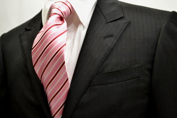 定番・市松模様 ネクタイ【ピンクと赤と白のストライプネクタイ】