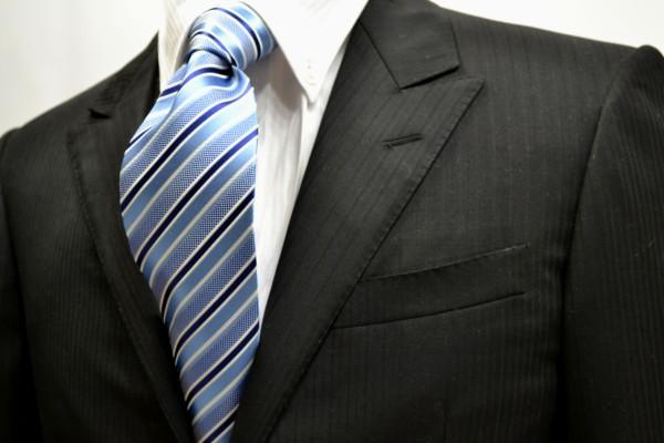 定番・市松模様 ネクタイ【水色と白とネイビーのストライプネクタイ】