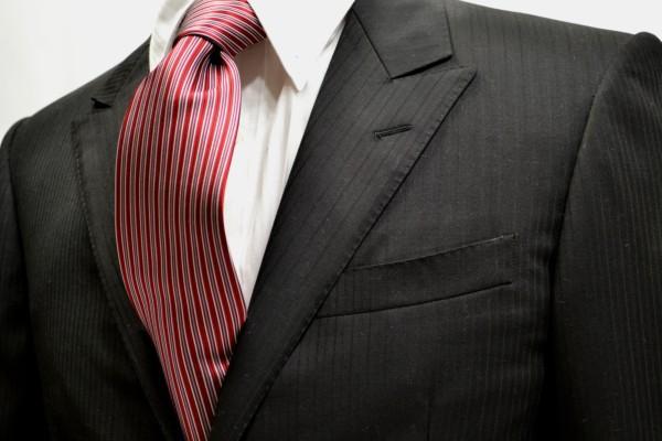 定番・市松模様 ネクタイ【レッドとシルバーとグレーのストライプネクタイ】