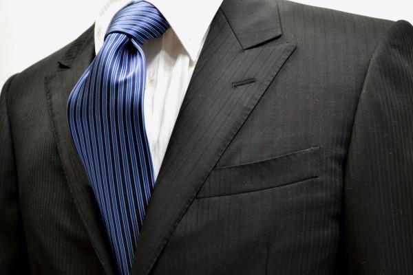 定番・市松模様 ネクタイ【ネイビーとブルーの濃淡のストライプネクタイ】