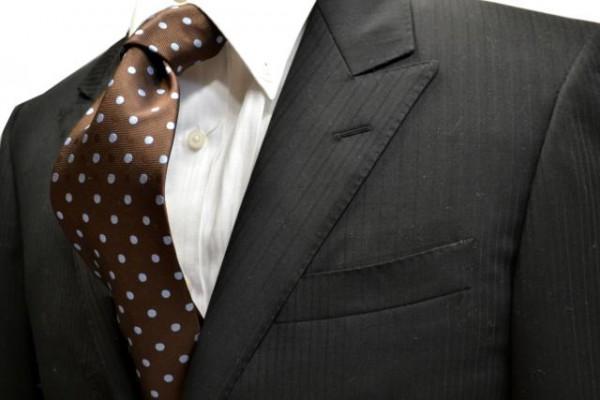 ネクタイ【茶色地に同色の織柄の水玉地に水色の水玉ネクタイ】