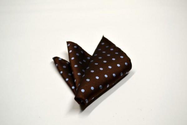 ポケットチーフ【茶色地に同色の織柄の水玉地に水色の水玉ポケットチーフ】