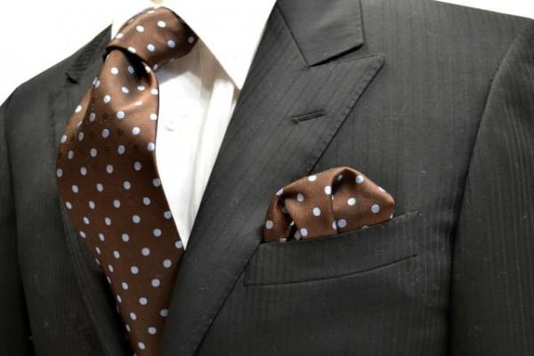 ネクタイ・チーフセット【茶色地に同色の織柄の水玉地に水色の水玉ネクタイ&ポケットチーフセット】