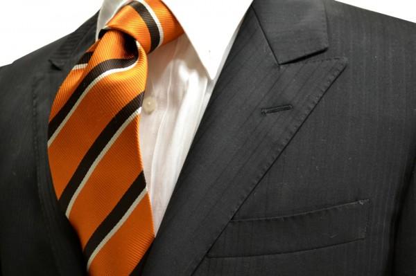ネクタイ【暗めのオレンジ地に濃い茶と白のストライプネクタイ】