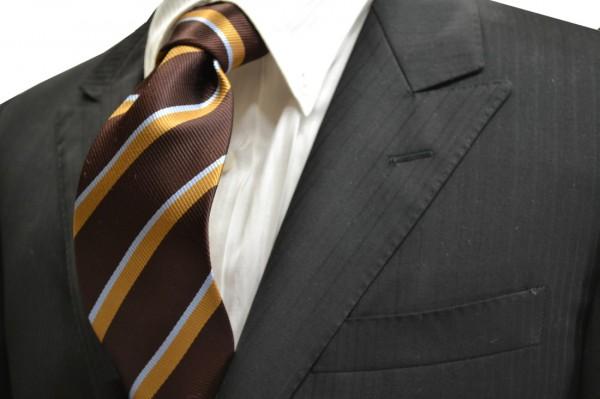 定番・市松模様 ネクタイ【茶色地にベージュと水色のストライプネクタイ】