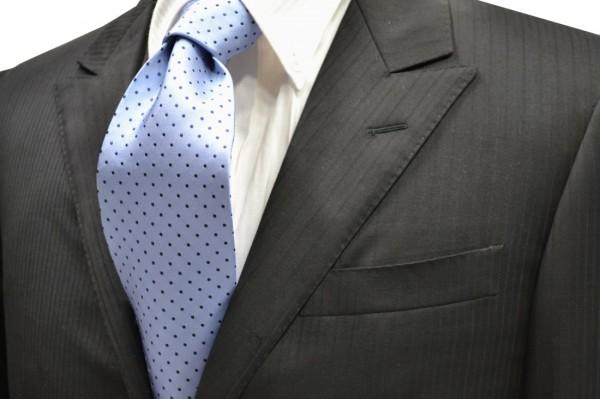 ネクタイ【水色に紺のピン(1mm)ドット柄シルクサテンネクタイ】