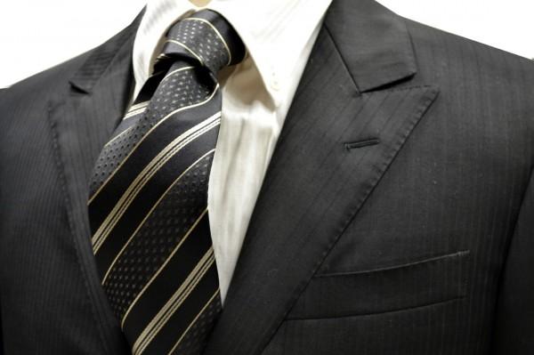 ネクタイ【ブラックと濃いチャコールとベージュのストライプネクタイ】