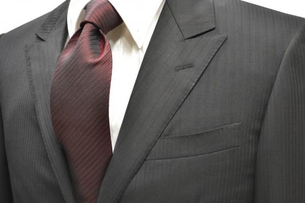 定番・市松模様 ネクタイ【エンジの濃淡と黒の無地ストライプネクタイ】