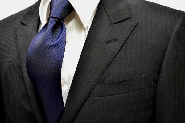 定番・市松模様 ネクタイ【ネイビーの濃淡と黒の無地ストライプネクタイ】