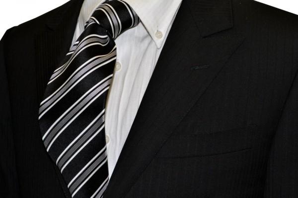 定番・市松模様 ネクタイ【ブラック地にホワイトのストライプネクタイ・モーニング用】