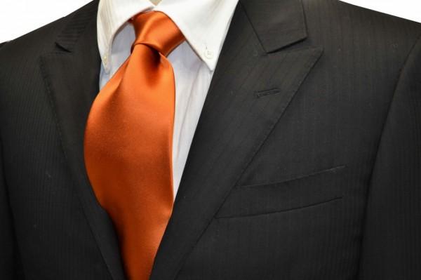 ネクタイ【テラコッタ(明るいレンガ色の様なオレンジ)サテン・ネクタイ】