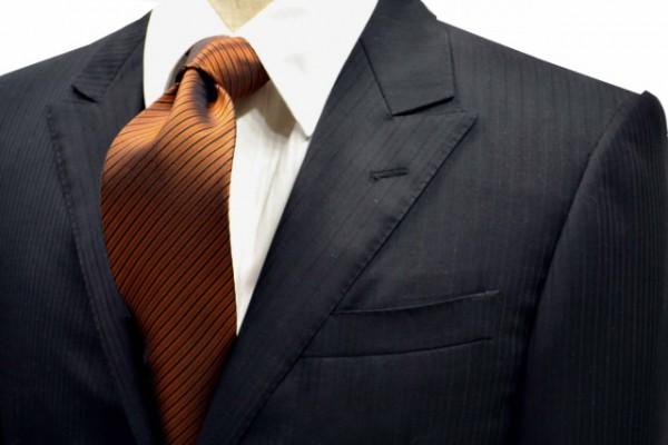 定番・市松模様 ネクタイ【オレンジとブラウンと黒の濃淡の無地ストライプネクタイ 】
