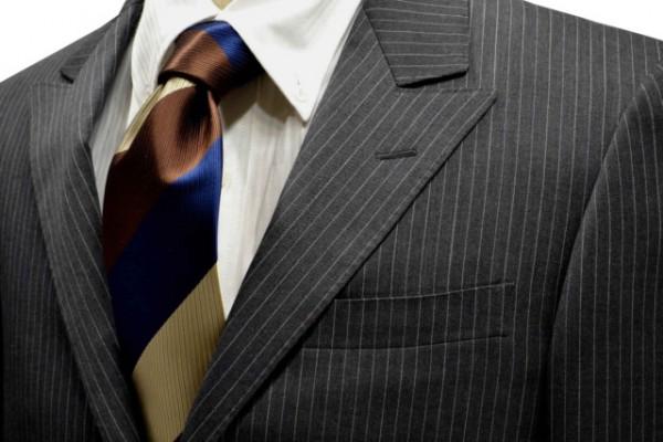 定番・市松模様 ネクタイ【ネイビーとブラウンと濃いベージュのストライプネクタイ】