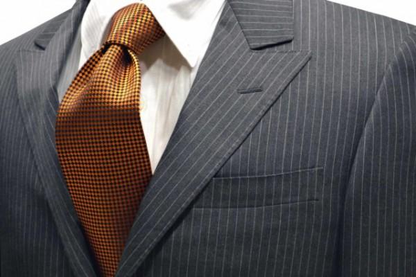ネクタイ【濃いオレンジのバスケット織・無地ネクタイ】