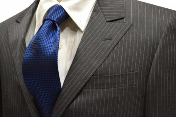 ネクタイ【濃いブルーのバスケット織・無地ネクタイ】