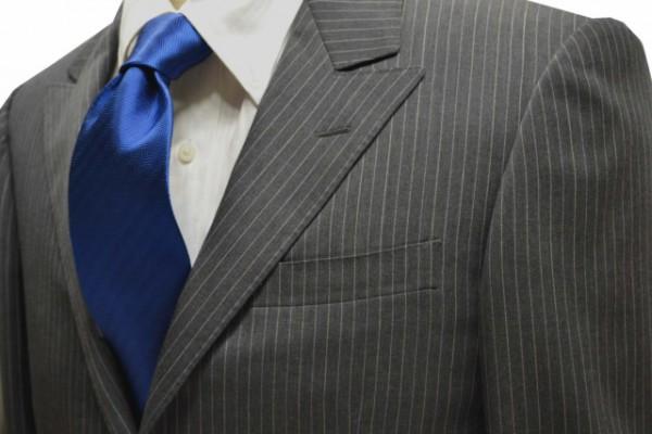 定番・市松模様 ネクタイ【ブルーのヘリンボーン・無地ネクタイ】