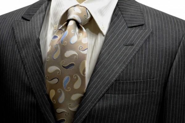 定番・市松模様 ネクタイ【ベージュ地に水色の濃淡と生成りの濃淡のペイズリー柄ネクタイ】