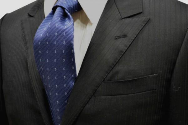 定番・市松模様 ネクタイ【ブルーグレーの織柄無地ストライプにらいとブルーグレーの小紋柄ネクタイ】