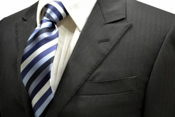 ネクタイ【紺と黒と水色と白のストライプネクタイ】