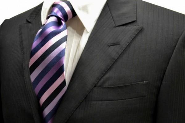 定番・市松模様 ネクタイ【黒と紺と紫とサーモンピンクと薄い紫のストライプネクタイ】