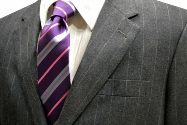 定番・市松模様 ネクタイ【パープル地にピンクとグレーとパープルのストライプネクタイ】