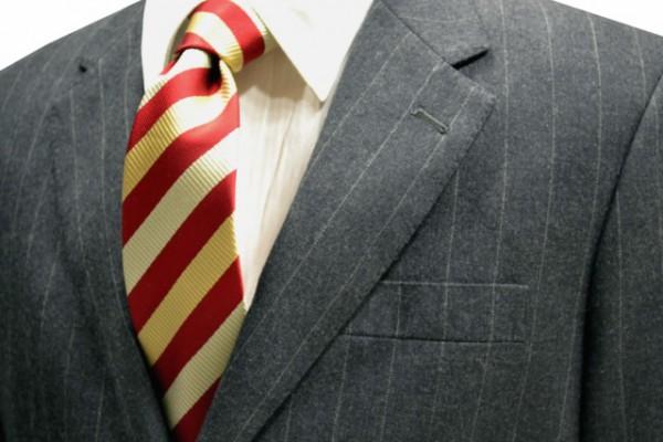ネクタイ【レッドとゴールドと薄いゴールドのストライプネクタイ】