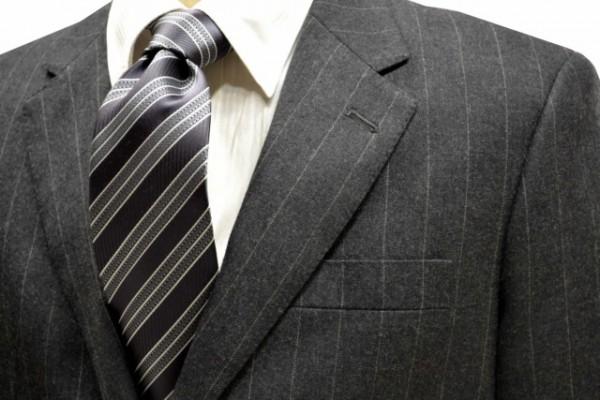 定番・市松模様 ネクタイ【チャコールグレー地にホワイトとグレーのストライプネクタイ】