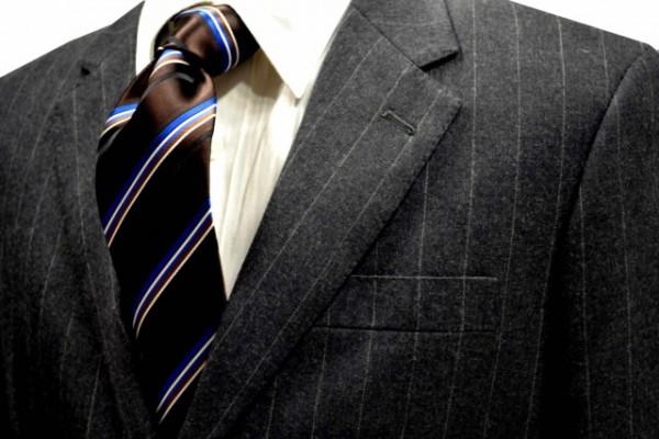 定番・市松模様 ネクタイ【ブラゥン時にブルーとホワイトとブラックとライトブラウンのストライプネクタイ】