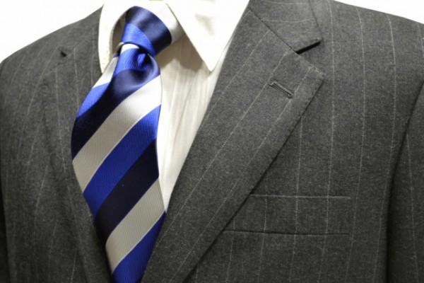 定番・市松模様 ネクタイ【濃いネイビーとブルーとシルバーのストライプネクタイ】