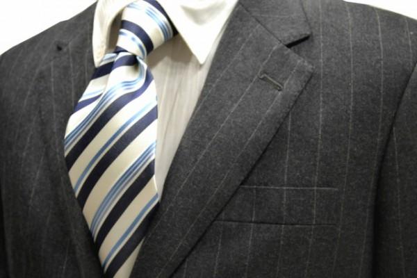 定番・市松模様 ネクタイ【ホワイト(白)と紺と水色のストライプネクタイ】