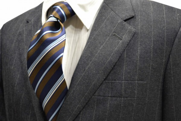 ネクタイ【茶色と紺と水色と白のストライプネクタイ】