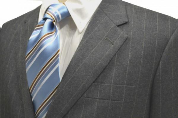 ネクタイ【水色地に白とブルーと茶色のストライプネクタイ】