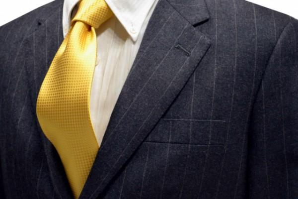 ネクタイ【濃い黄色のバスケット織ネクタイ】