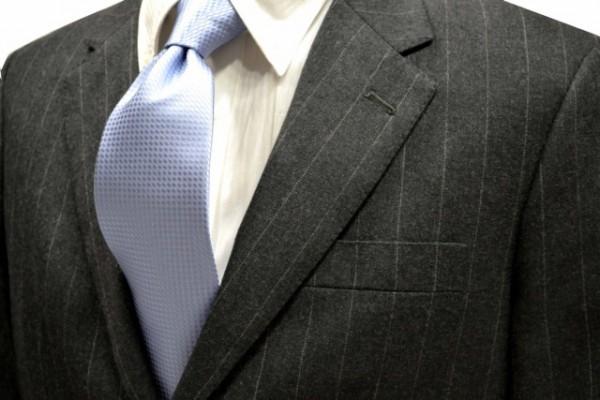 ネクタイ【水色のバスケット織ネクタイ】