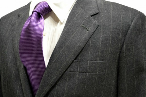 定番・市松模様 ネクタイ【紫色のバスケット織ネクタイ】