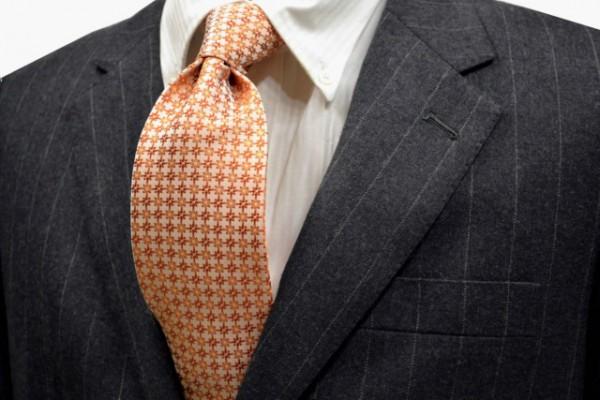 ネクタイ【オレンジ地に濃淡オレンジ、白の小紋柄ネクタイ】
