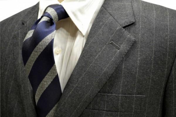 定番・市松模様 ネクタイ【紺地にグレーのストライプネクタイ】
