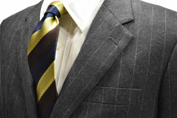 定番・市松模様 ネクタイ【濃いブラウンとネイビーとイエローゴールドのストライプネクタイ】