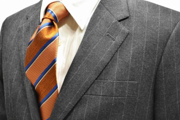 定番・市松模様 ネクタイ【オレンジ地にブルー、ブラック、シルバーのストライプネクタイ】