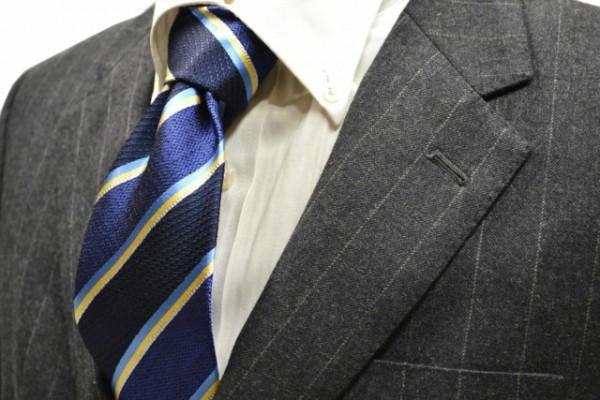 定番・市松模様 ネクタイ【紺地に水色、イエロー、グレーのストライプネクタイ】