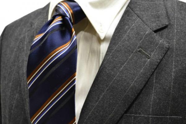 ネクタイ【ブラック地に、ブラウンとシルバーとブルーのストライプネクタイ】