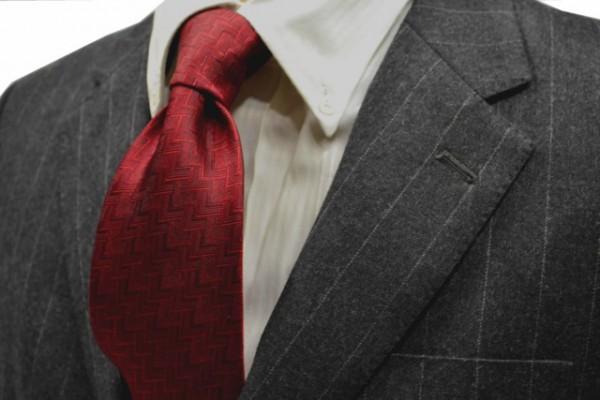 定番・市松模様 ネクタイ【濃い赤の変形ヘリンボーンネクタイ】
