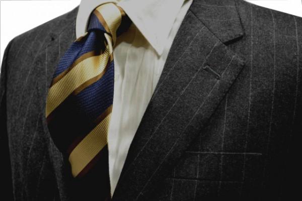 定番・市松模様 ネクタイ【ネイビーとベージユとブラウンのストライプネクタイ】