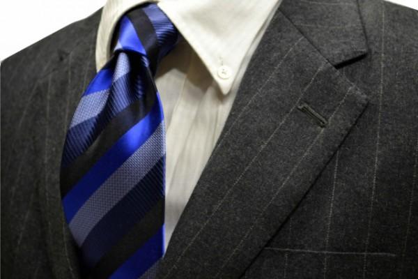ネクタイ【ブルー、グレー、ブラックのストライプネクタイ】