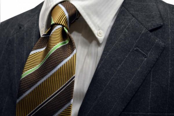 ネクタイ【ブラウン、水色、グリーン、ゴールドのストライプネクタイ】