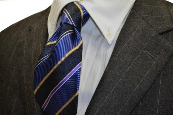 ネクタイ【ブルー、パープル、濃紺、イエローのストライプネクタイ】