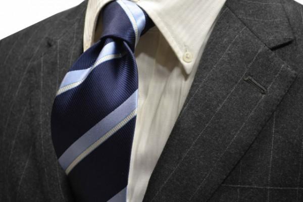 定番・市松模様 ネクタイ【紺地に水色、シルバーのストライプネクタイ】