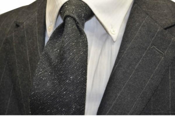 定番・市松模様 ネクタイ【チャコールグレーのミックス織ネクタイ】